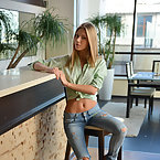Ideal young girl in tight trousers